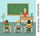 school lesson  children listen... | Shutterstock .eps vector #558931996