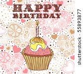 birthday cake card   Shutterstock .eps vector #55893877