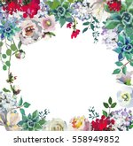 pastel floral drop frame  hand... | Shutterstock . vector #558949852
