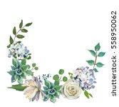 pastel floral bouquet frame... | Shutterstock . vector #558950062