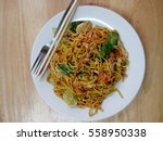 fried yellow noodles  thai food ... | Shutterstock . vector #558950338