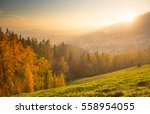 Autumn Landscape With Town At...