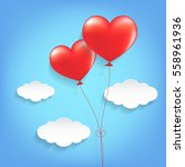 heart shape balloons with cloud.... | Shutterstock .eps vector #558961936