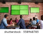 rear view of friends watching... | Shutterstock . vector #558968785