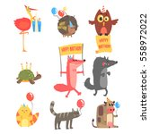 funky animals with party...   Shutterstock .eps vector #558972022