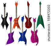 vector set of electric guitars... | Shutterstock .eps vector #558972202