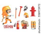 boy fireman  kids future dream... | Shutterstock .eps vector #558973972