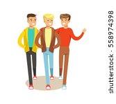 three happy best friends going... | Shutterstock .eps vector #558974398