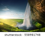 seljalandfoss waterfall in... | Shutterstock . vector #558981748