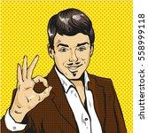man showing ok sign pop art...   Shutterstock .eps vector #558999118