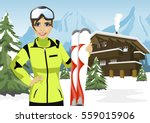 Female Mountain Skier Standing...