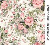 seamless pattern bouquet bud... | Shutterstock . vector #559023826