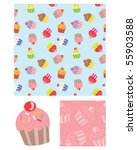 cute cupcake vector repeat... | Shutterstock .eps vector #55903588