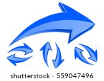 arrows. set of 3d blue arrows... | Shutterstock . vector #559047496