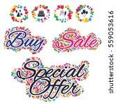 sale confetti labels and... | Shutterstock . vector #559053616