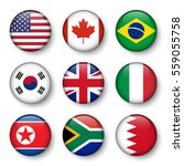 Set Of World Flags Round Badge...