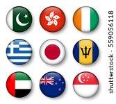 Set Of World Flags Round Badges ...