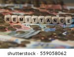 remittance   cube with letters  ... | Shutterstock . vector #559058062