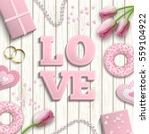 romantic background with pink... | Shutterstock .eps vector #559104922