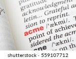 Small photo of Closeup of English dictionary page with word acme.