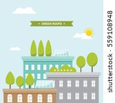 buildings with green roof... | Shutterstock .eps vector #559108948