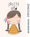 cute girl illustration.for... | Shutterstock .eps vector #559115422