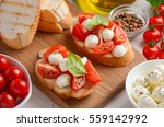 bruschetta with cherry tomatoes ... | Shutterstock . vector #559142992