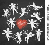 chalk drawn contours of cupids... | Shutterstock .eps vector #559144852