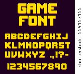 pixel retro video game font. 8... | Shutterstock .eps vector #559157155