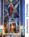 Small photo of Hartford, CT, USA May 27, 2008 The modern mural stands behind the alter of St Joseph's Cathedral in Hartford, Connecticut