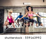 group of sportive people... | Shutterstock . vector #559163992