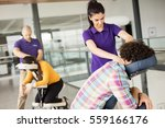 office massage at mobile chair  | Shutterstock . vector #559166176