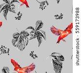 birds and wild grapes. seamless ... | Shutterstock . vector #559173988