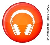 headphones icon in red circle... | Shutterstock . vector #559176922