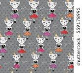 fashion cat vector pattern  ... | Shutterstock .eps vector #559178992
