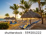 Tropical beach resort at sunrise in Punta Cana, Dominican Republic.