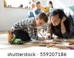 family spend time happiness... | Shutterstock . vector #559207186