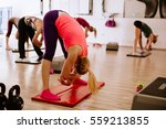 legs stretching group training. ... | Shutterstock . vector #559213855