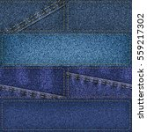 seamless denim patchwork... | Shutterstock . vector #559217302