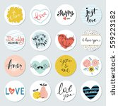 valentines day circles with... | Shutterstock .eps vector #559223182