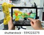 industry 4.0 concept .man hand... | Shutterstock . vector #559223275