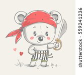 cute little bear pirate cartoon ... | Shutterstock .eps vector #559241236