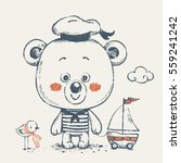 cute baby bear sailor with a... | Shutterstock .eps vector #559241242
