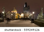 Night Snowy Prague Old Town...