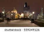Night Snowy Prague Old Town...