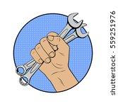 wrench in hand logo in comic... | Shutterstock .eps vector #559251976