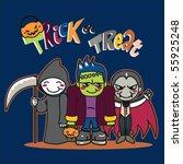 three little kids in funny... | Shutterstock .eps vector #55925248