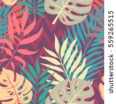 summer exotic floral tropical... | Shutterstock .eps vector #559265515