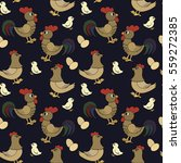 pattern with roosters  chicken... | Shutterstock .eps vector #559272385