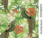 tropical seamless pattern. palm ... | Shutterstock .eps vector #559280095